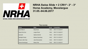 NRHA Swiss Slide CRI mit USS N Dun It